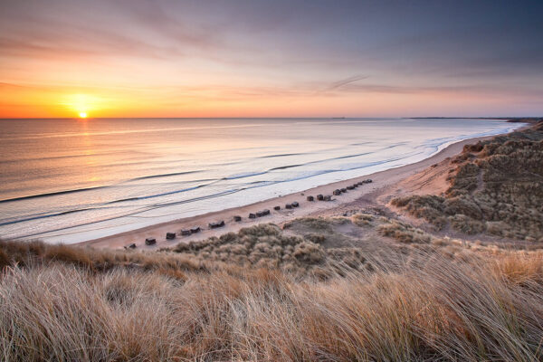 Sunrise over the beach south of Alnmouth